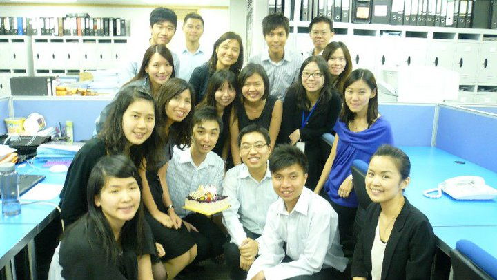 Peter TAM (front row 3rd from the right), our 2003 Accounting graduate, had a tough beginning of his career but thrived in his subsequent jobs.