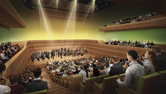 Perspective of the Concert Hall of the Shaw Auditorium Photo credit: Henning Larsen Architects Hong Kong